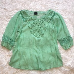 Mint Green Lace Sheer 3/4 Sleeve Top, S